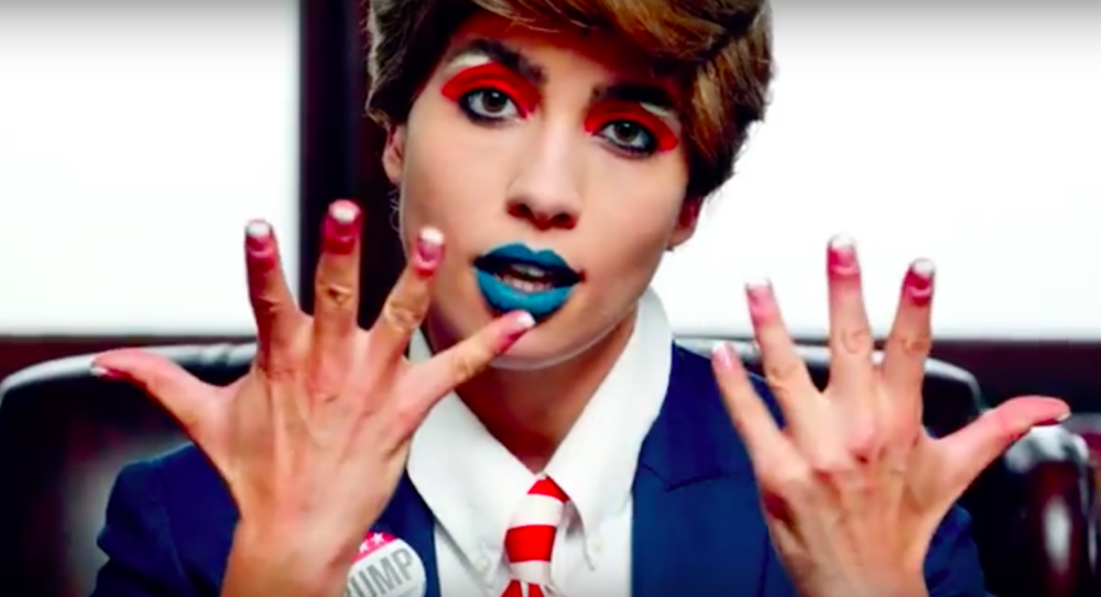 "Nadya Tolokonnikova as Donald Trump in Pussy Riot's video ""Make America Great Again."" Photo via YouTube."