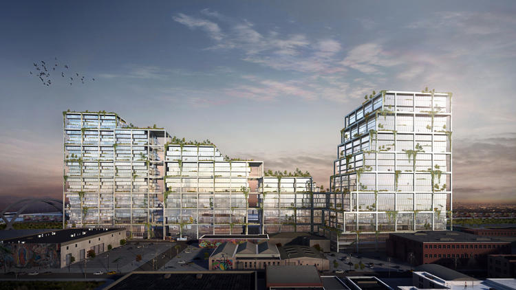 The 670 Mesquit project would include a mix of office space, apartments and retail. (Bjarke Ingels Group)