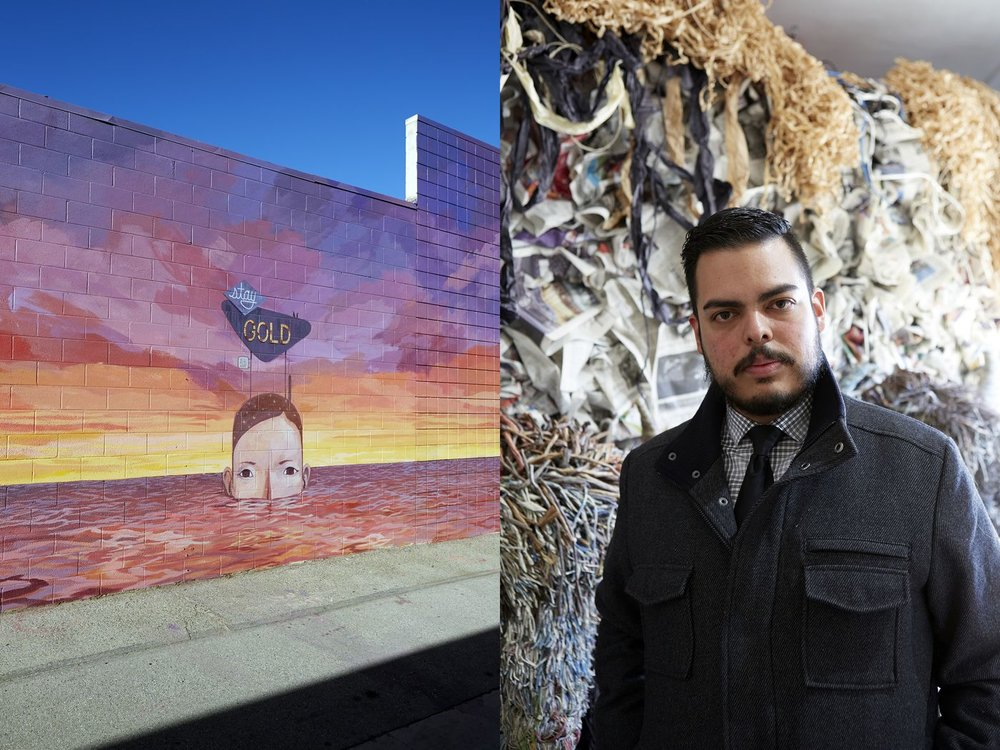 Left: A mural by Yoskay Yamamoto. Right: Robert Benitez, a curator at the Lancaster Museum of Art and History
