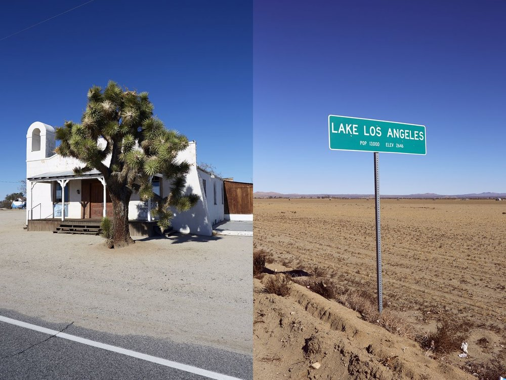 Left: Two Pines Chapel, also known as the  Kill Bill  Church. Right: A sign for Lake Los Angeles, in Antelope Valley.