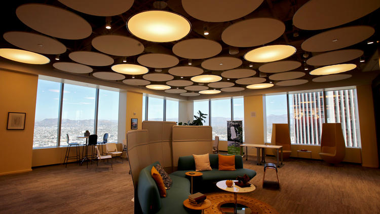The top floor of the Citigroup Center building serves as a model for future workspaces. (Luis Sinco / Los Angeles Times)