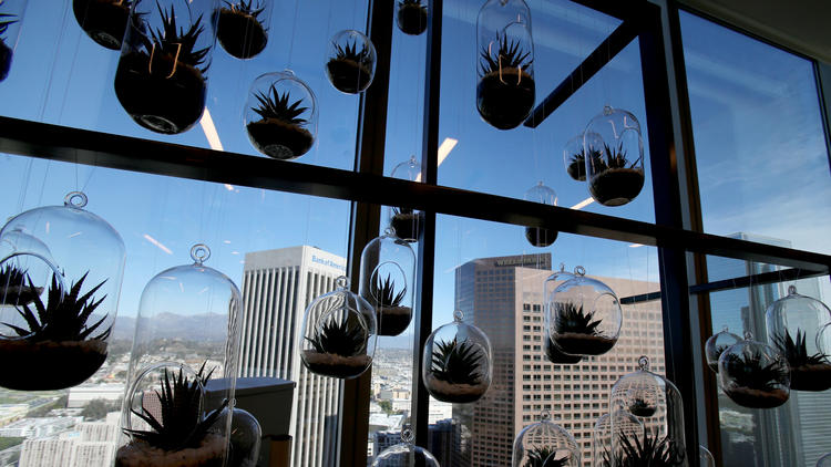 The top floor workspaces at Haworth feature ambient lighting and homey amenities. (Luis Sinco / Los Angeles Times)