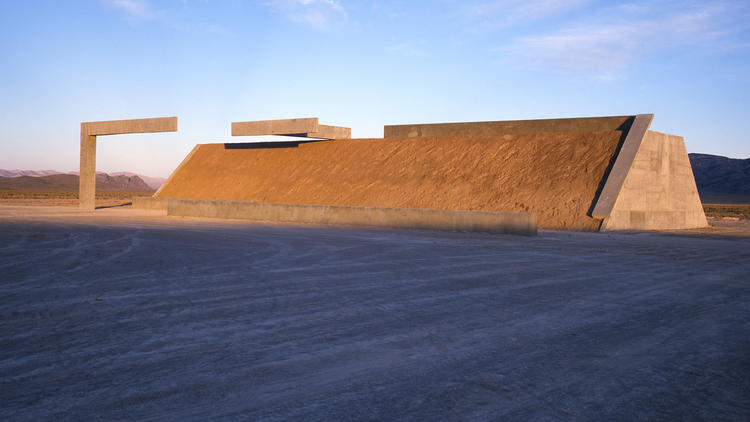 """Part of Michael Heizer's """"City"""" in Nevada. (Tom Vinetz / Triple Aught Foundation)"""