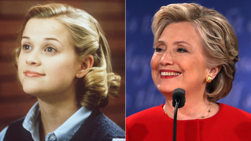 """Did Hillary Clinton encounter a Tracy Flick effect? In 1999's """"Election"""" Reese Witherspoon's school government campaign affronts a male teacher.  (Bob Akester / Paramount Pictures; Spencer Platt / Getty Images)"""