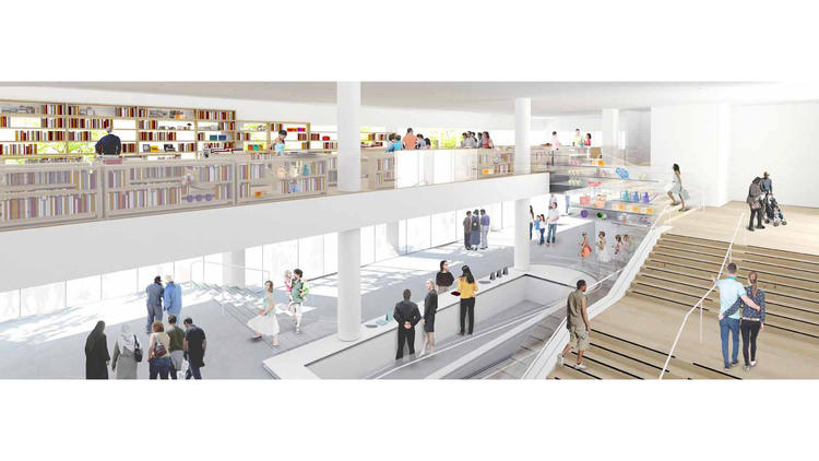 A new museum shop will occupy a mezzanine above the lobby, with windows overlooking Wilshire Boulevard. (Hammer Museum / Michael Maltzan Architecture)