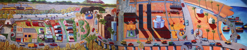 L.A. River Mural 2005 by Frank Romero Acrylic on Canvas, 120 x 552 inches