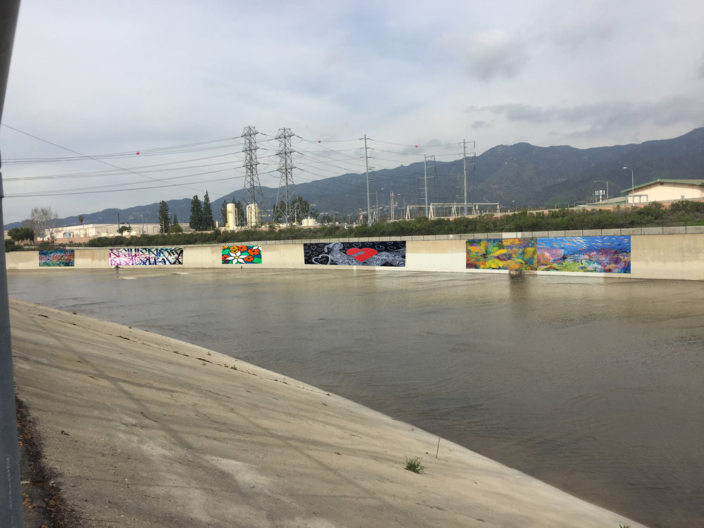 Example of water themed murals along the channel walls near Ferraro Field at Griffith Park where access and wall conditions were most suitable for proof of concept project. The Army Corps said painting the walls could inhibit visual inspection of cracks in channel walls.