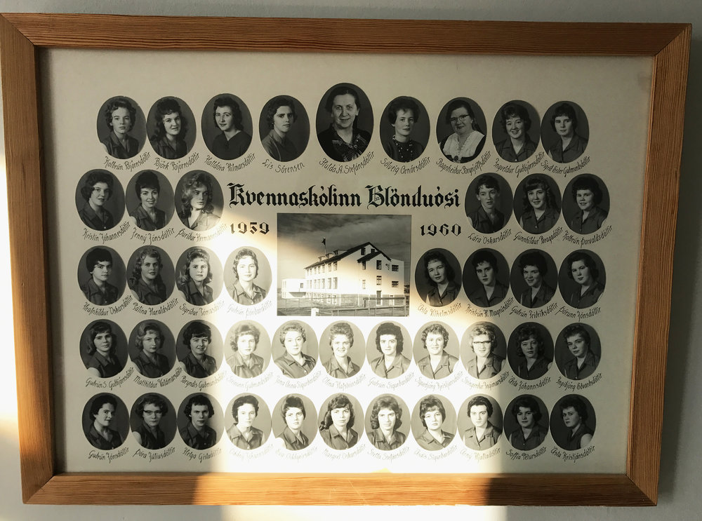 We are living in what use to be a women's college back in the day. The rooms and halls are lined with these old class images. I love comparing the hair/clothing styles from year to year. Blönduós, Iceland.