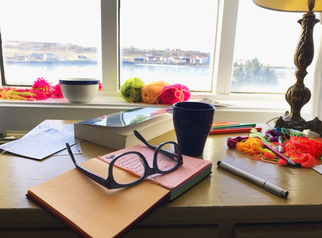 My sweet little desk. The after image. Fluorescent follows we everywhere - Blönduós, Iceland.