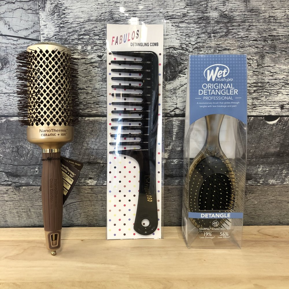 Brushes - The Olivia Garden Nano Thermic roundbrushes that we carry are a must if you want to perfect your blowout. We have several different sizes and they are all gold so how could you not want one?! We also carry evo Fabuloso wide-tooth combs so that you can brush out your waves perfectly day-of and day-after. The iconic Wet Brush detangling brush is also a staple in our studio (and hopefully in your bathroom or wherever you do your hair) for keeping your hair smooth and healthy.