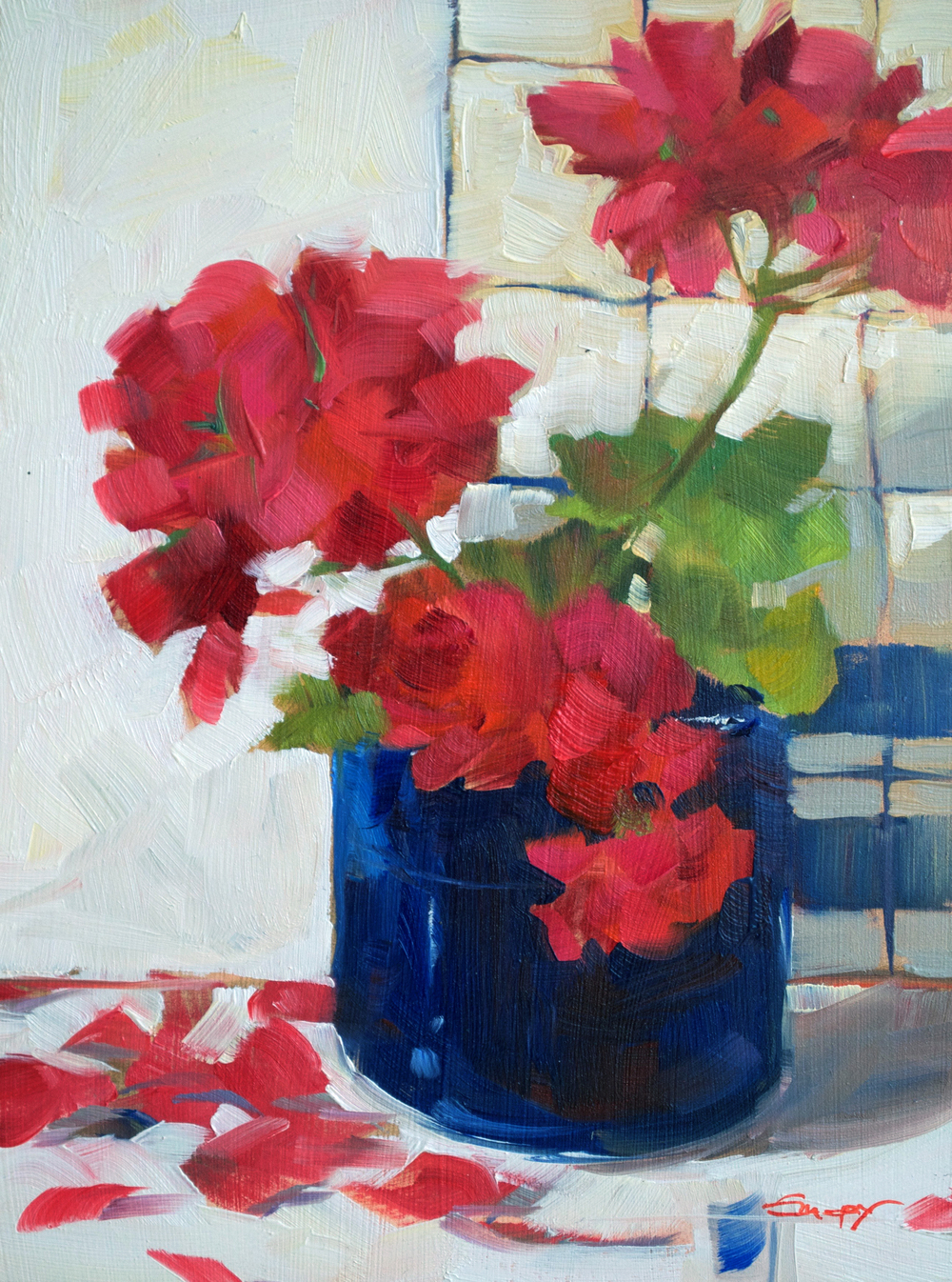 Red Geranium with Blue Vase