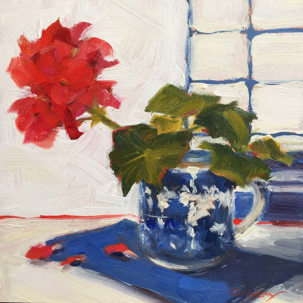 Red Geranium in Cup