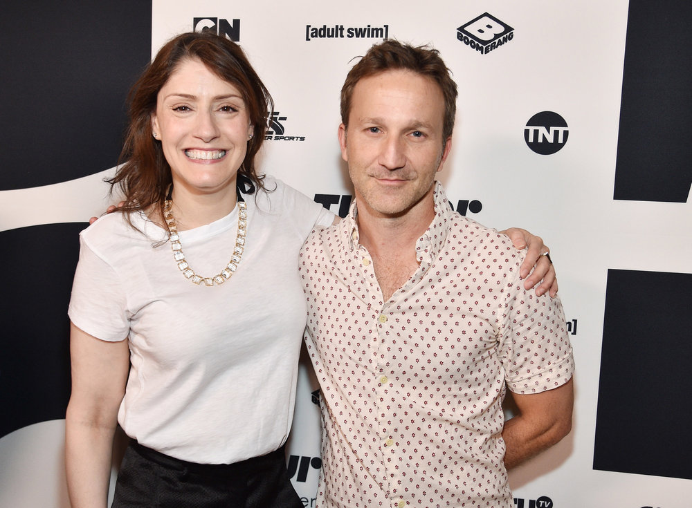 (Left to Right)  Christina Miller , President of Cartoon Network, Adult Swim and Boomerang and  Breckin Meyer  of Adult Swim's  Robot Chicken  at the  Turner Upfront 2017  green room at Lugo Cucina Italiana on May 17, 2017 in New York City. (Photo by Kevin Mazur/Getty Images)