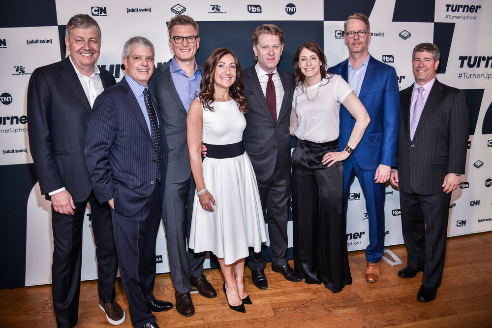(Left to Right)  Gerhard Zeiler , President of Turner International;  David Levy , President of Turner;  Kevin Reilly , President of TBS & TNT and Chief Creative Officer, Turner Entertainment;  Donna Speciale , President of Turner Ad Sales;  John Martin , Chairman and CEO of Turner;  Christina Miller , President of Cartoon Network, Adult Swim and Boomerang;  Chris Linn , President of truTV and  Lenny Daniels , President of Turner Sports at the  Turner Upfront 2017  green room at Lugo Cucina Italiana on May 17, 2017 in New York City. (Photo by Kevin Mazur/Getty Images)