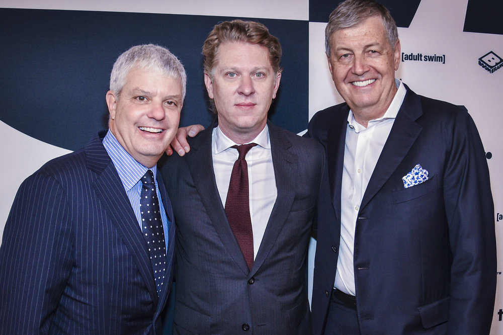 (Left to Right)  David Levy , President of Turner;  John Martin , Chairman and CEO of Turner and  Gerhard Zeiler , President of Turner International at the  Turner Upfront 2017  green room at Lugo Cucina Italiana on May 17, 2017 in New York City. (Photo by Kevin Mazur/Getty Images)