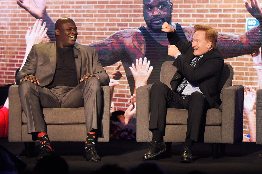 (Left to Right)  Shaquille O'Neal  of  Inside the NBA  on TNT and  Conan O'Brien  of TBS's  CONAN  at the  Turner Upfront 2017  show at The Theater at Madison Square Garden on May 17, 2017 in New York City. (Photo by Kevin Mazur/Getty Images)