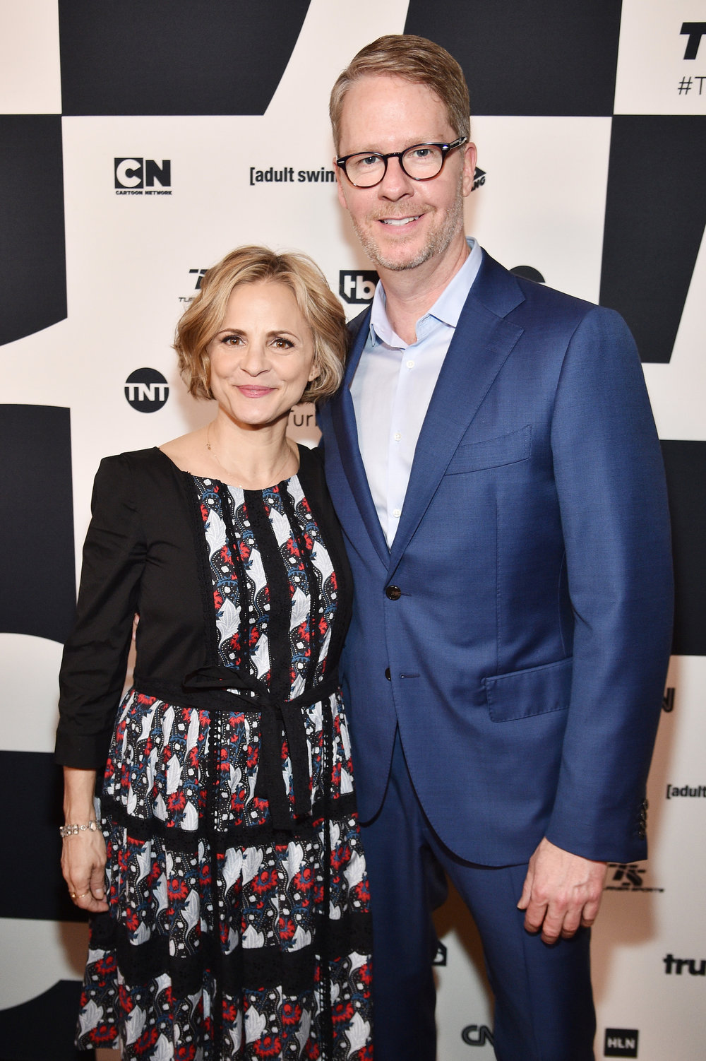 (Left to Right)  Amy Sedaris  of truTV's  At Home with Amy Sedaris  and  Chris Linn , President of truTV at the  Turner Upfront 2017  green room at Lugo Cucina Italiana on May 17, 2017 in New York City. (Photo by Kevin Mazur/Getty Images)