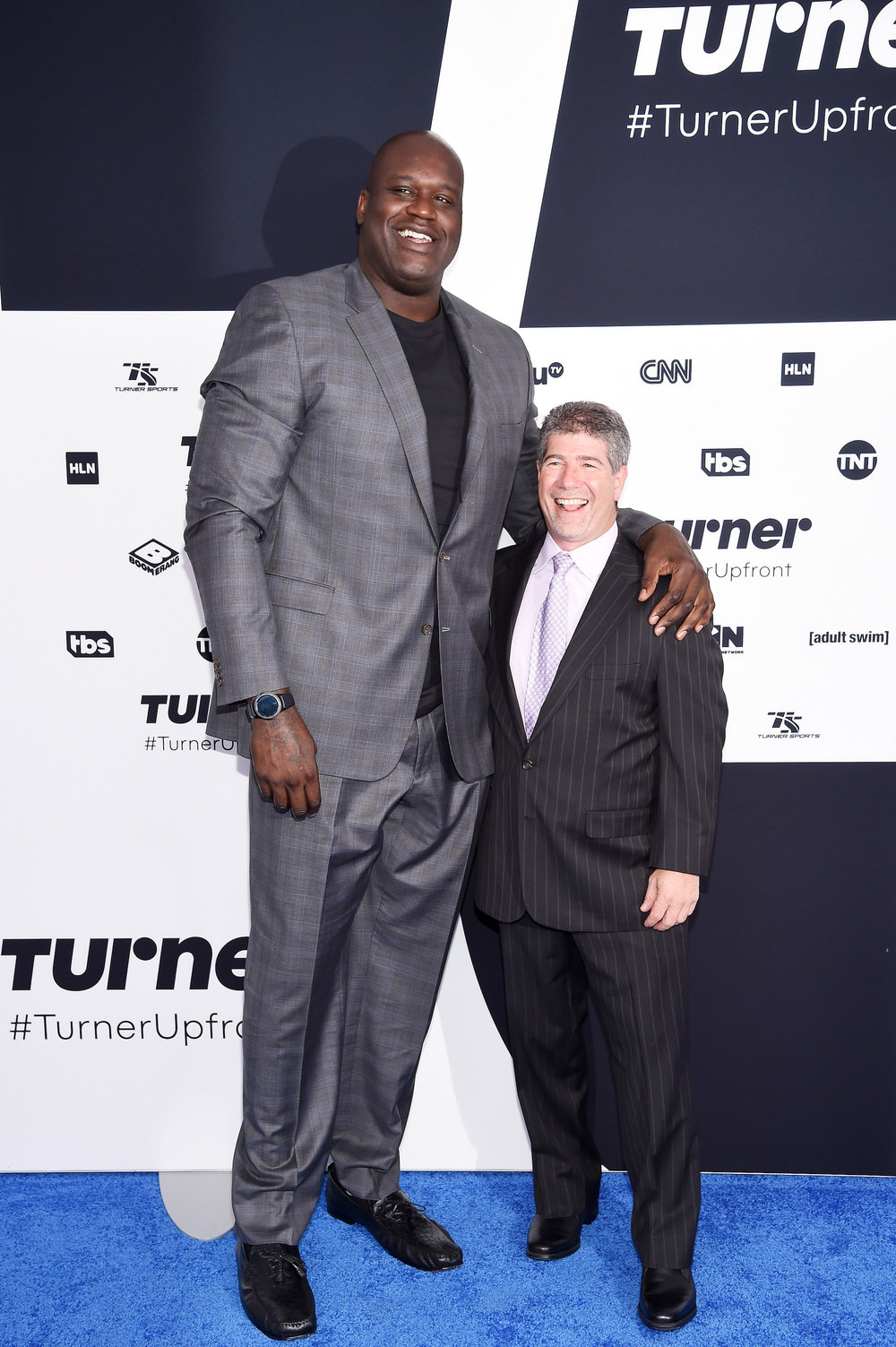 (Left to Right)  Shaquille O'Neal  of  Inside the NBA  on TNT and  Lenny Daniels , President of Turner Sports at the  Turner Upfront 2017  red carpet on May 17, 2017 in New York City. (Photo by Dimitrios Kambouris/Getty Images)