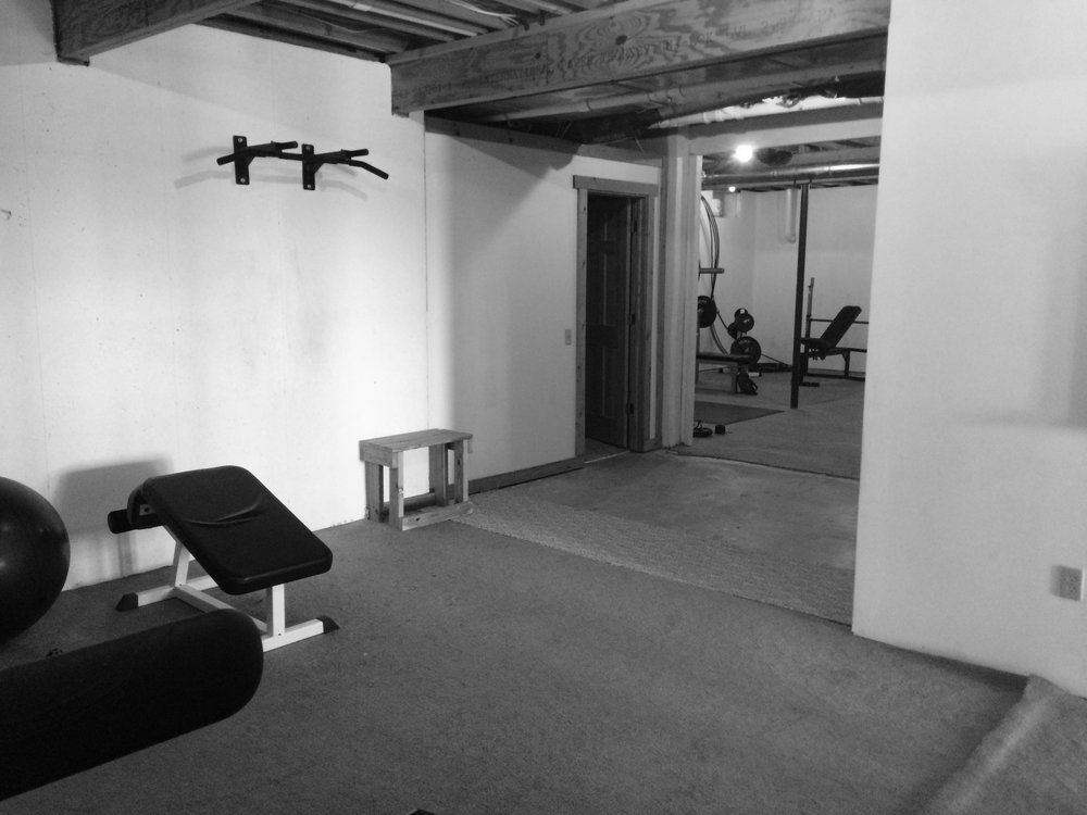 Basement gym area Before