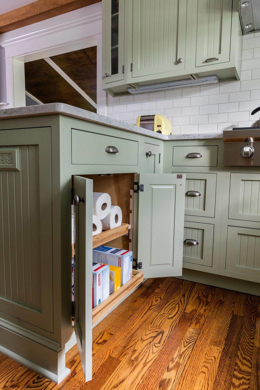 Modern Vintage Kitchen Peninsula Storage Cabinets