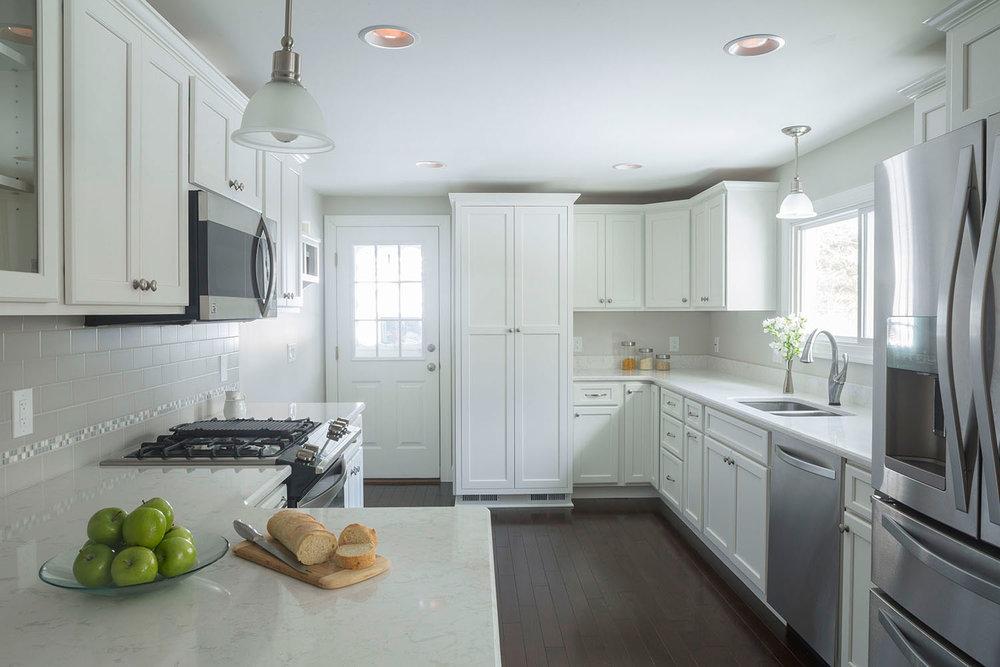 Fresh Linen kitchen overview Balboa Mist paint color