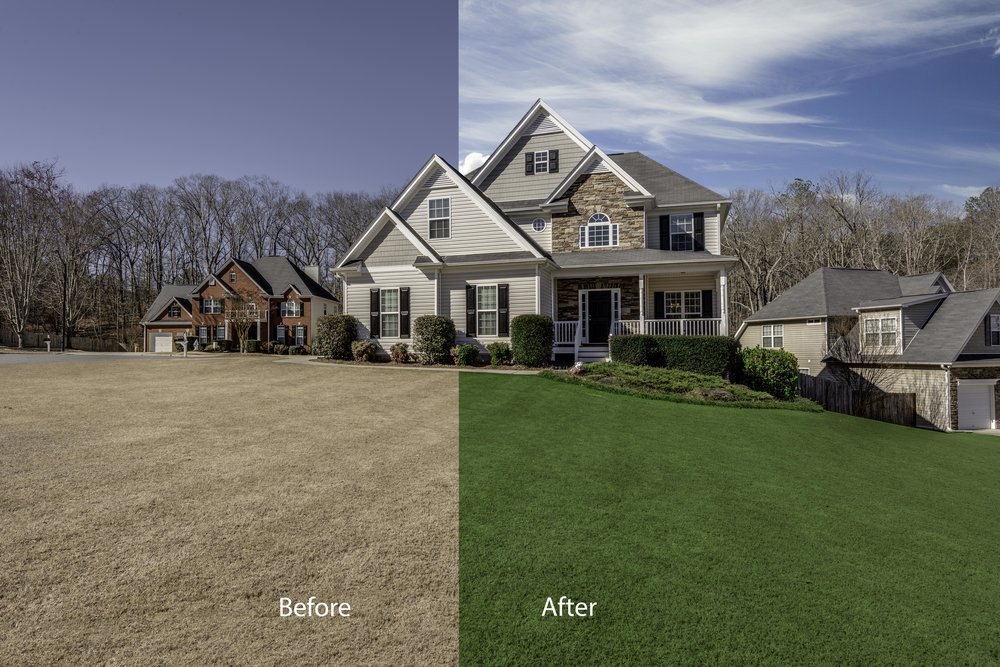 Sky replacement & YArd retouching