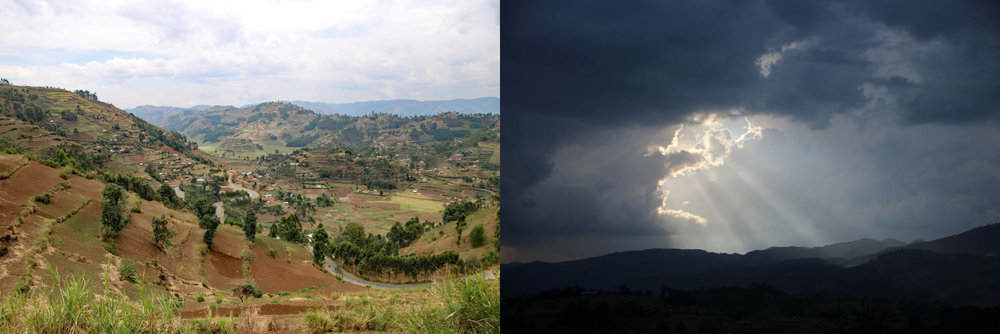 View of Muko farmland; late afternoon sky on drive back to Kabale