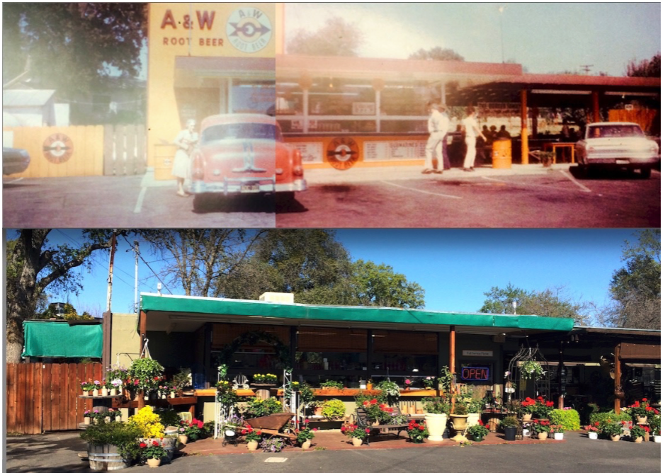 [Above: A&W Rootbeer Building in 1962 along side the same picture of the building in 2014 of Blooms And Things Florist]