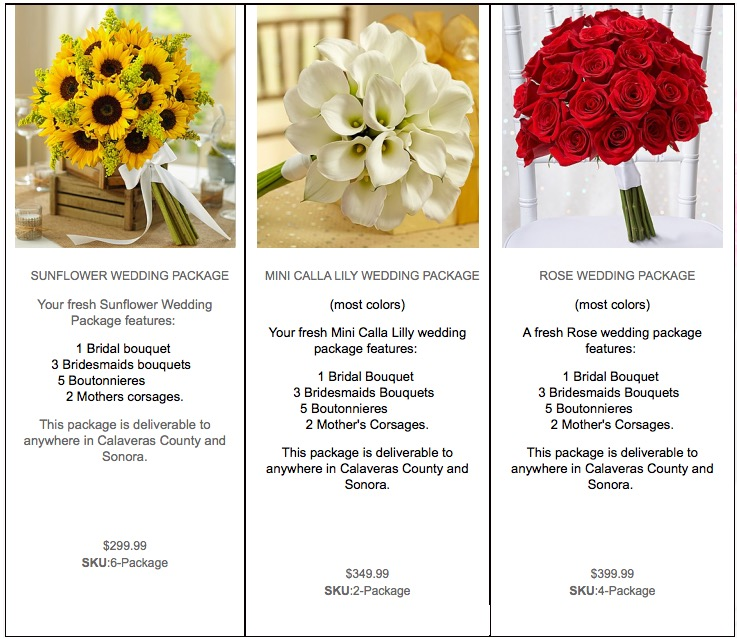 Weddings Flower Packages — Blooms And Things Florist | Call 209-736 ...