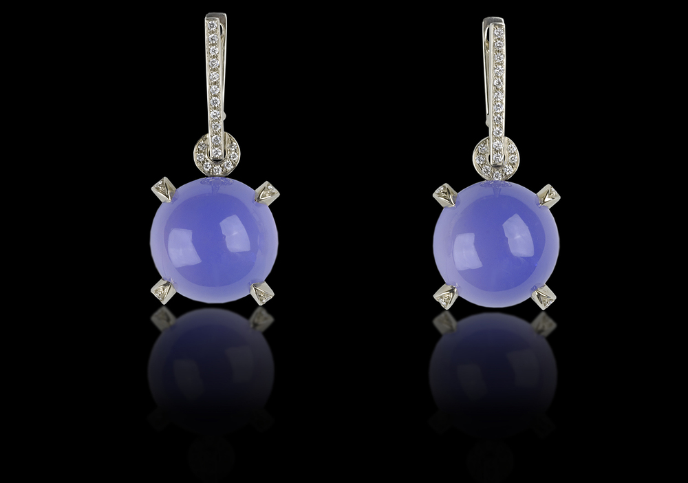 Blue Orbs   Dreams come true under tropical seas.    Earrings in 18 karat white gold, white Diamonds and Rare Chrysophrase      $6,000