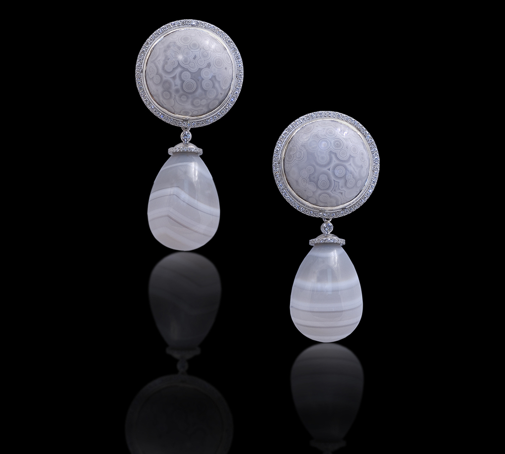 Grey Agates Under the spell of twilight the depth of nature in all its subtlety is still visible. Earrings with detachable drops in 18 karat white gold, white Diamonds, and rare Grey Ocean Jasper and banded Agate $7500