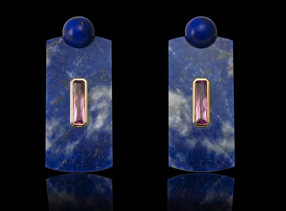 Big Bang    Put these on in the morning and you will have the largest earrings in the boardroom, your confidence will soar with every turn of your head.     Earrings in 18 karat Yellow Gold, Lapis Lazuli and Pink Tourmaline  $17,000