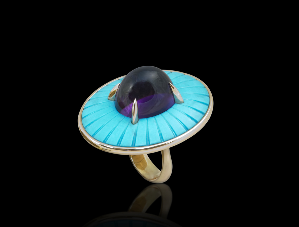 Parasol Dreams The summer sun, sand, and water cool the emotions and lift the mood. Ring in 18 karat Red Gold, with Turquoise and Amethyst $12,000