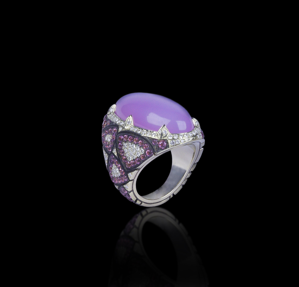 Midnight Crusader   Armor with regal shapes and colors beacons us to forgive its intent.    Ring in 18 karat White Gold, with Rare Purple Agate, white Diamonds and Amethyst      $14,000