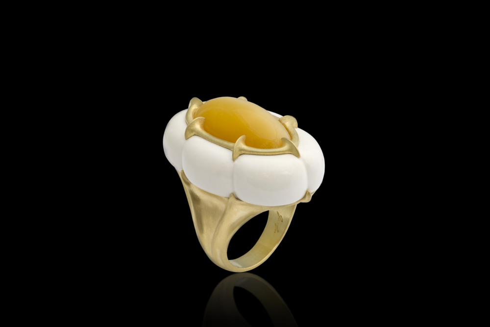 King's Crown   A pure heart realizes its own perfection.    Ring in 18 karat Yellow Gold, with Catseye Opal, Cochalon     $8,000