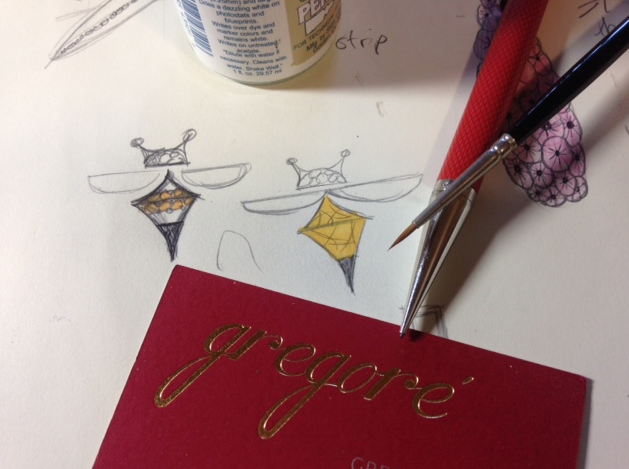 Final drawing of what will soon be an 18k yellow gold bee earring  with mother of pearl wings