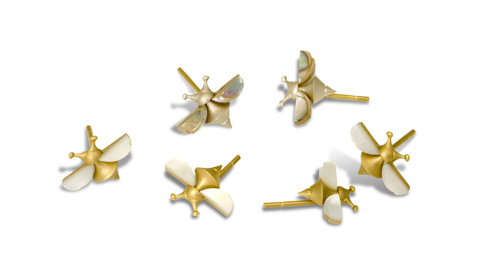 Finally,  Bees  lots of bees in 18k gold and silver with 18k posts  the silver version comes with abalone wings