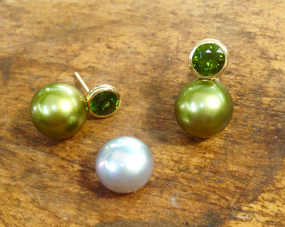 Pistachio Green Tahitian Pearl Earrings with Green Zircon and 18 karat Yellow Gold