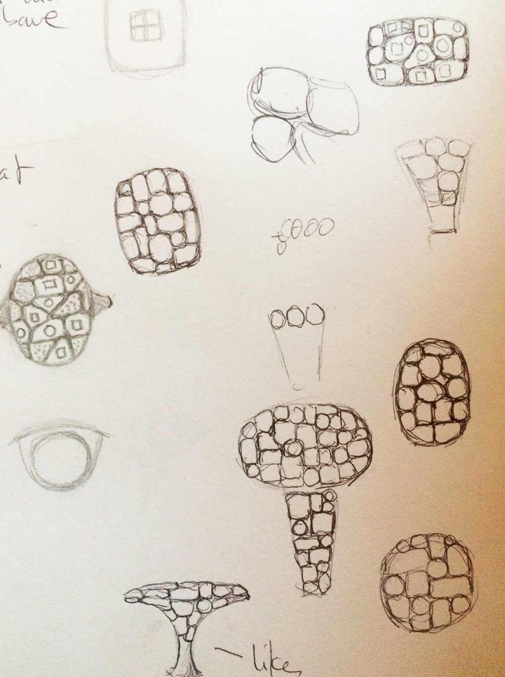 preliminary drawings for Caron's big ring