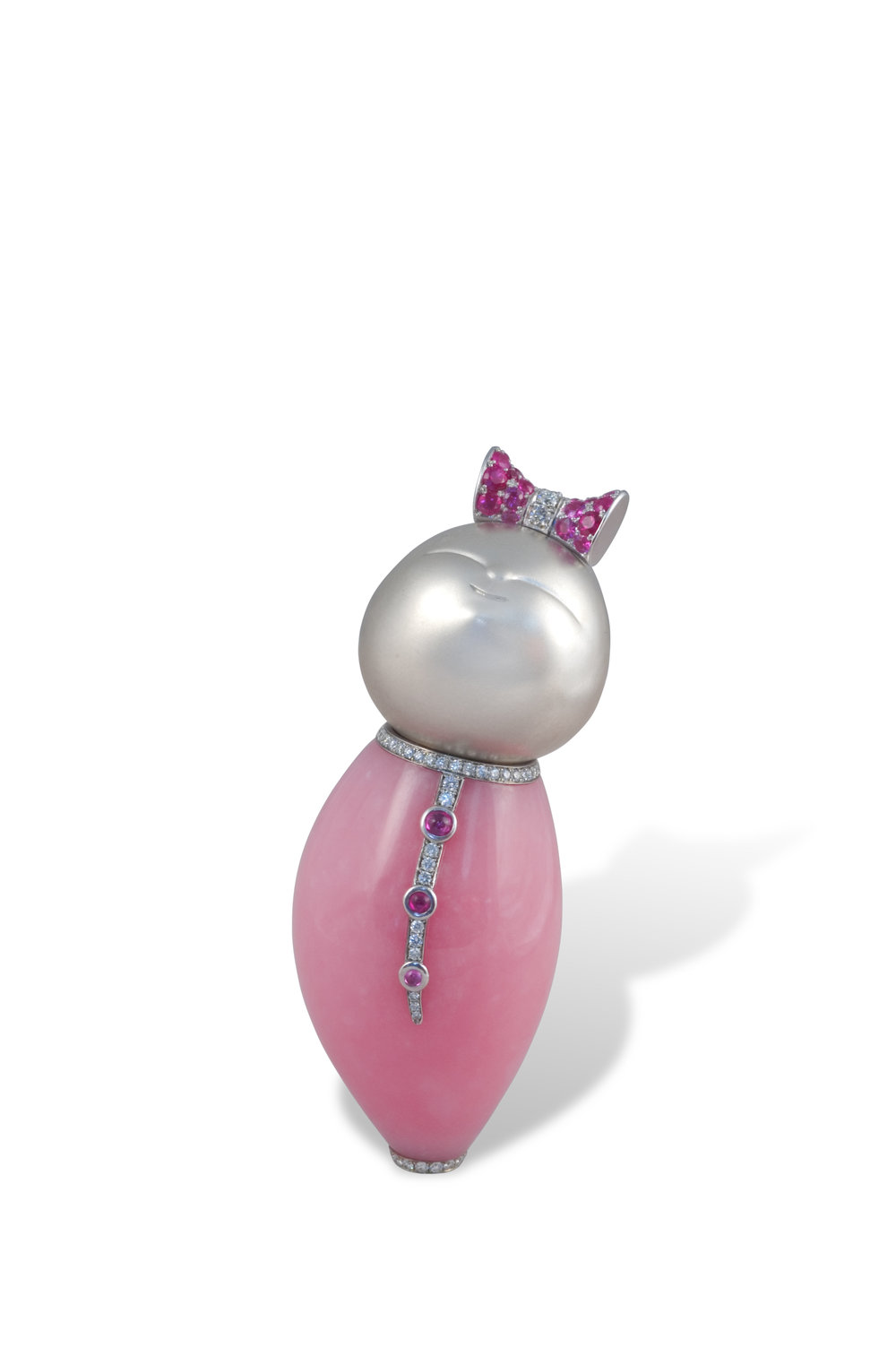 Kokeshi In Pink, opal body, carved platinum face, bow and details, pink sapphire pave' and diamond pave'
