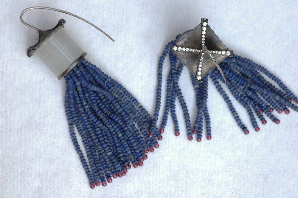Tassel earrings by Gregore with Afghanistan lapis lazuli, garnet beads, mounted onto sterling silver and white jade tops, accented with white diamonds