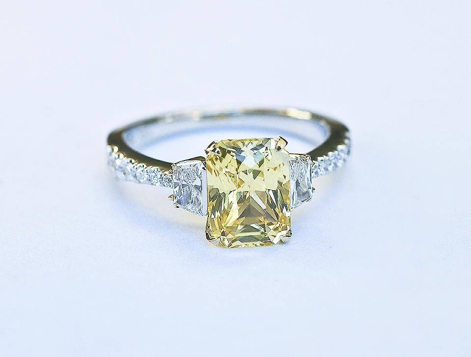 yellow sapphire, diamond, yellow gold and platinum engagement ring