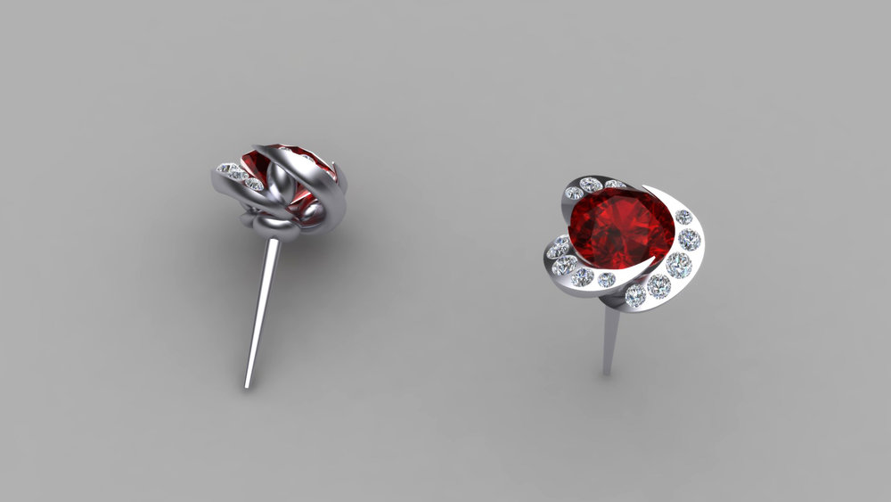 CAD render of the swirl earring.
