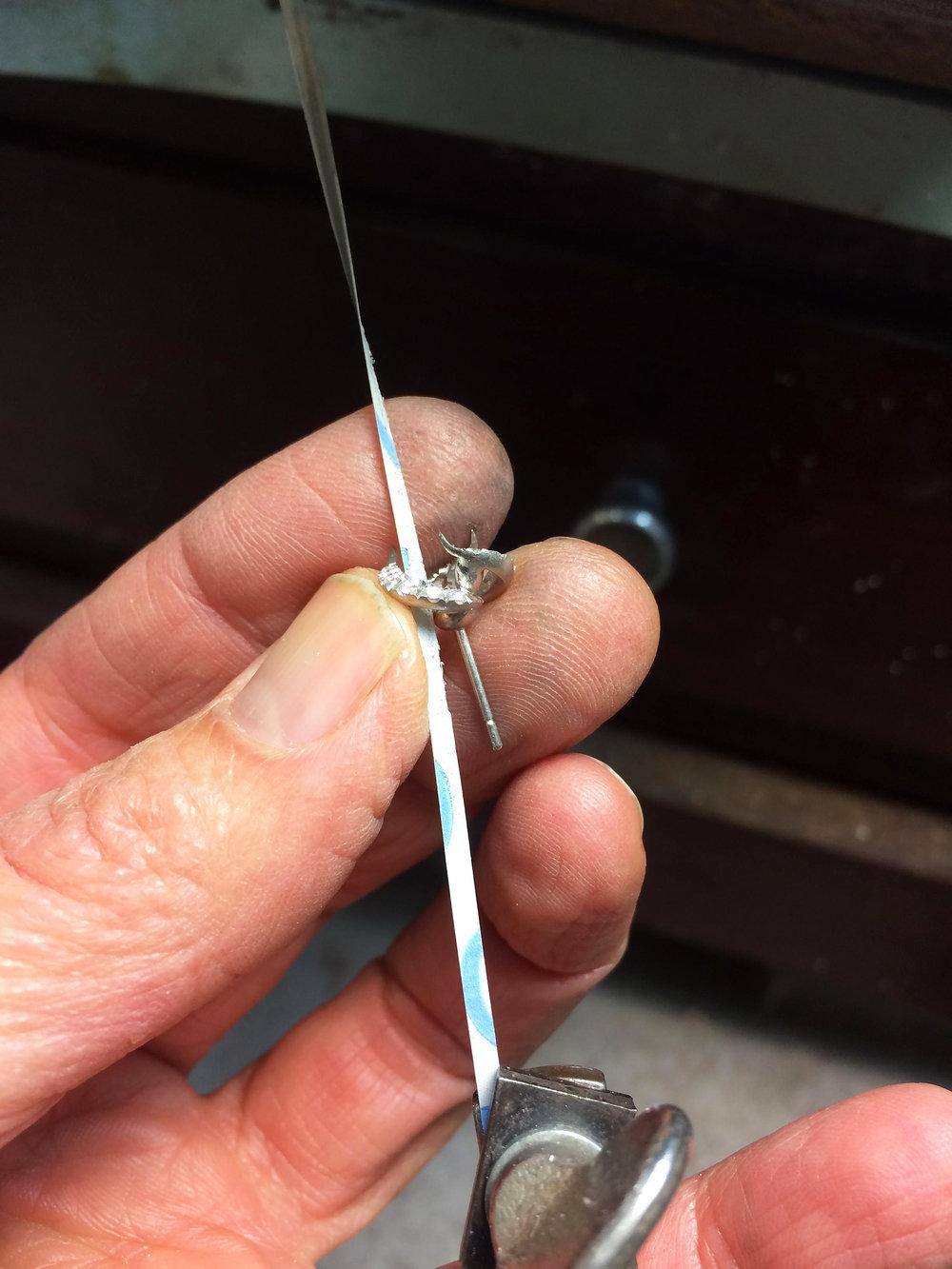 Sanding the earring