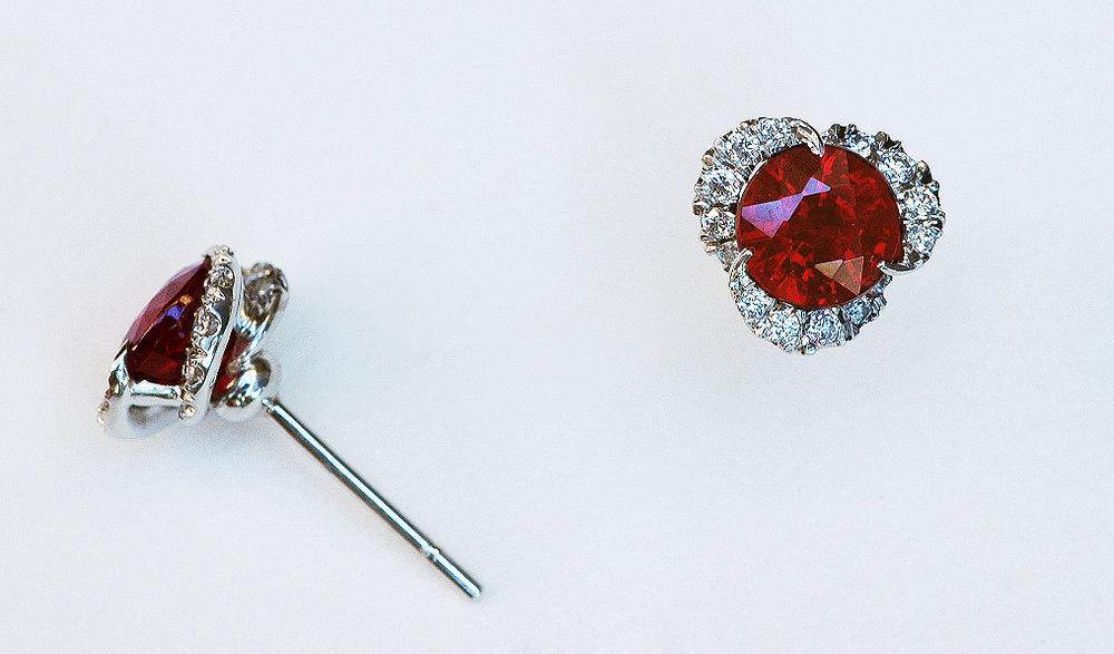 ruby,diamond and paltinum stud earrings