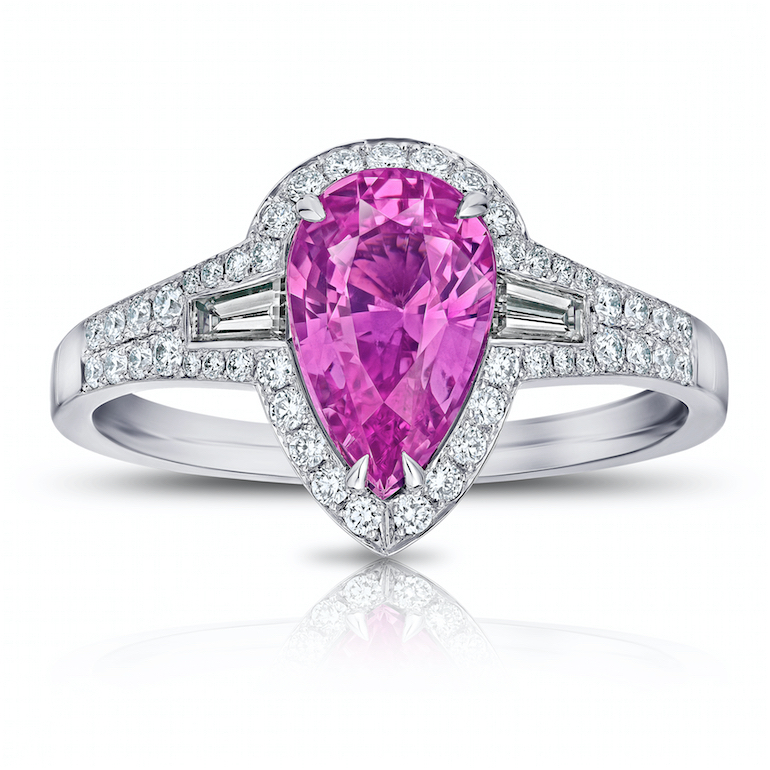 engagement ring pink sapphire, diamond, platinum
