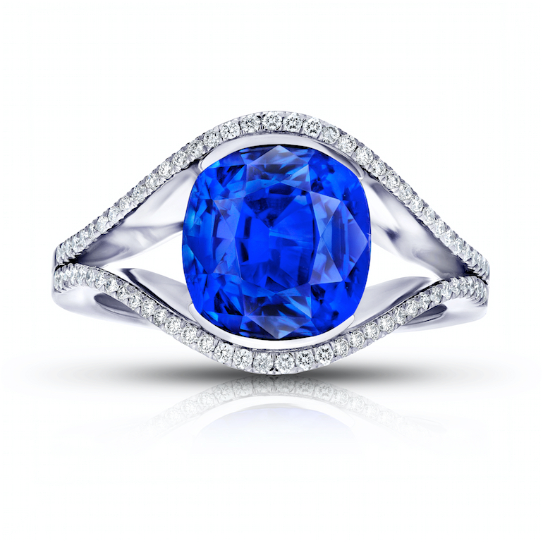 engagement ring Santa Barbara blue sapphire, diamond and platinum