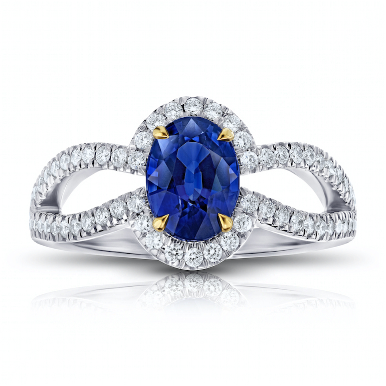 custom engagement ring blue sapphire, diamond, platinum and 18 k