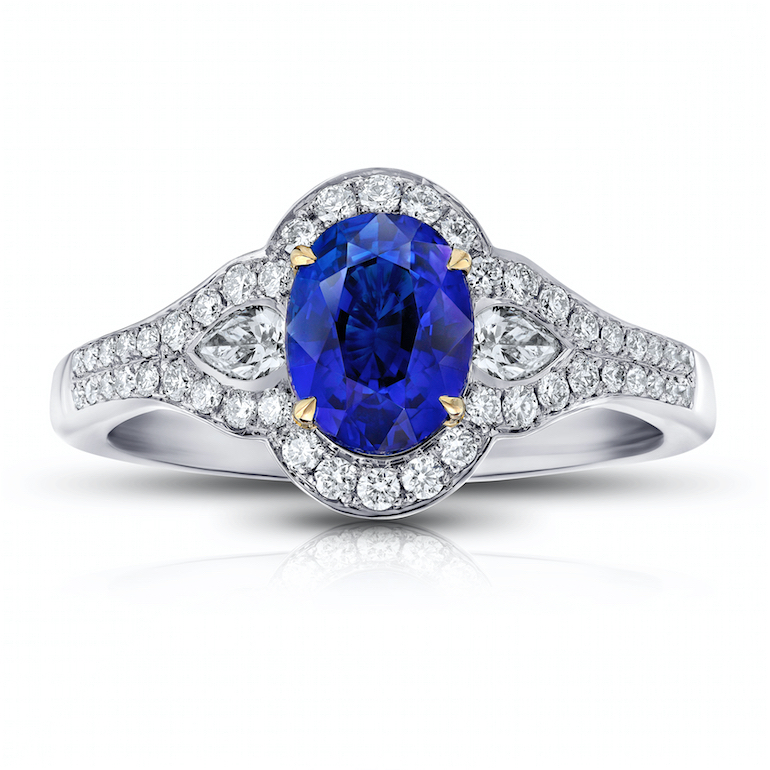 Engagement ring blue sapphire, diamond, platinum
