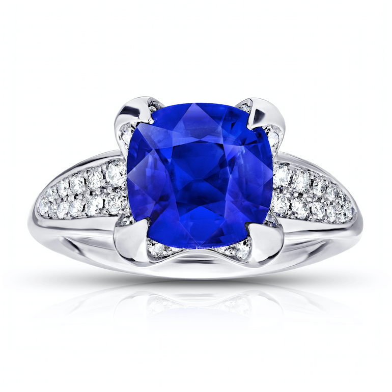 custom blue sapphire platinum and diamond engagement ring for David Gross Group